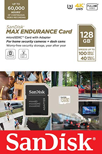SanDisk 128GB MAX Endurance microSDXC Card with Adapter for Home Security Cameras and Dash cams - C10, U3, V30, 4K UHD, Micro SD Card - SDSQQVR-128G-GN6IA