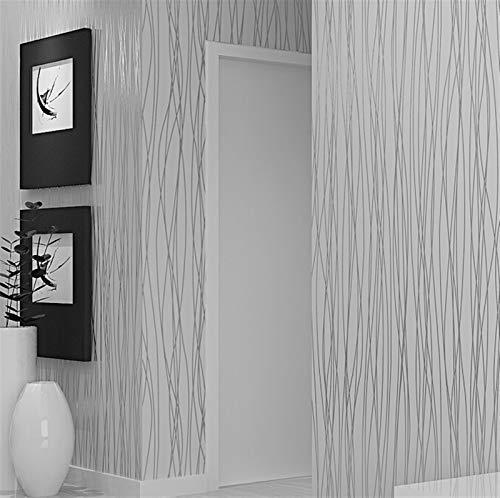 Cajones de cocina Gabinetes Estantes encimeras Wal Textura rayada de lujo llanura gris plata rayas flocado papel pintado decoración de la habitación moderna sólido fondo gris rollo de papel de pared