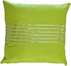 Blue Dolphin Decorative Silver Sequins Stripes & Zig Zag Embroider Throw Pillow Cover 18 Lime Green