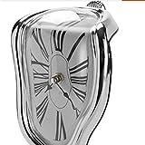 Imoerjia Creative Melting Sake Flasks Wall Clock Desk Angle Right Angle Distortion Clock Digital Clock 90 Degrees to Distort Time Clock,