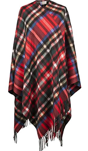 I Luv Ltd Cashmere Cape In Exploded Stewart Royal Tartan Design 150cm Wide