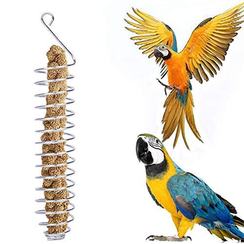 N/L Spiral Bird Feeder Edelstahl Hanging Bird Feeder Vogelfutter Spender für Papageien/Wildvögel, Garden Outdoor Bird Sebum Feeder