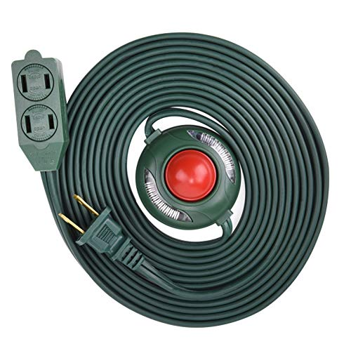 Electes 3 Outlet Extension Cord with Hand/Foot Switch and Light Indicator with Safety Twist-Lock, 16/2, Green, UL Listed
