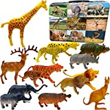 3 Bees & Me Safari Animals Animal Toys with Storage Box - 14 Fun Jungle Animal Toy Figures for Kids + Cool Case + Fun Facts