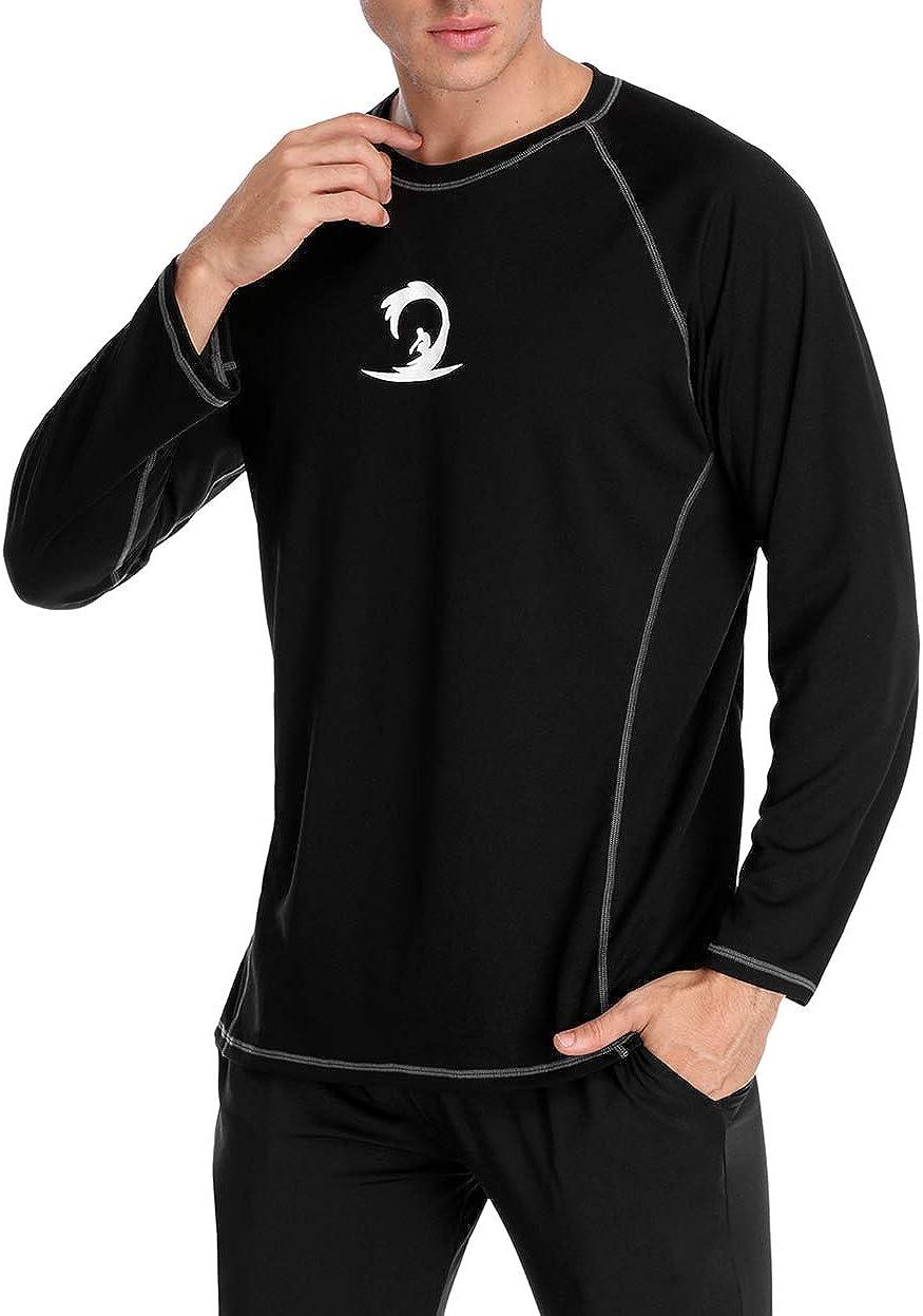 beautyin Men's Breathable Rashguard Sport Tee Short Sleeve Loose Fit Swim Shirt