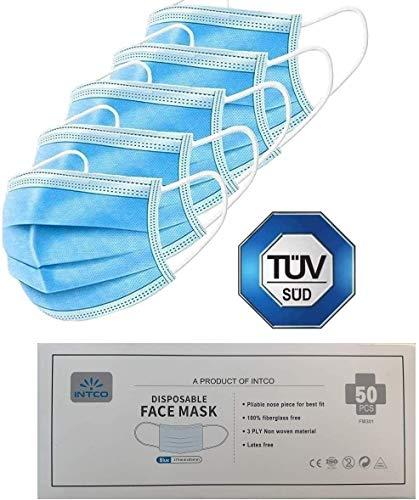 50x TÜV SÜD & TÜV Rheinland zertifizierte INTCO Einweg Masken EN14683 Typ IIR - Gesichtsmaske Vlies Einwegmaske Mundschutz Staubschutz mit Ohrschlaufen