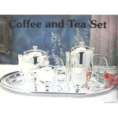 Silver Plated- Juego de café o té: cafetera + tetera + lechera + azucarero + bandeja- metal plateado