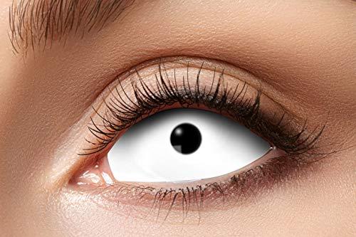 Zoelibat Farbige Sclera Kontaktlinsen für 6 Monate, 2 Stück, BC 8.6 mm, 22mm, White Eye, in Markenqualität, für Halloween, Fasching, Karneval, weiß