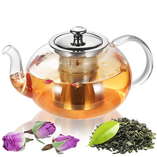Glass Teapot Kettle, OAMCEG 40 OZ / 1.2 L Teapot with Removable Infuser & Lid & Handle, Glass Tea Kettle Stovetop Safe, Great For Loose Leaf Tea, Blooming Tea, Tea Bags & Fruit Infused Water