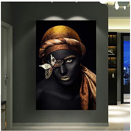 Feines Gold des Adels der afrikanischen Frau Kostspieliges Make-up wird getragen Poster Wandkunst Bild für Wohnzimmer Wohnkultur 70x100cm (28x40in)