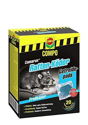 Compo Cumarax Ratten-Köder, Getreidepads, Fraßköder für Köderboxen, 20 Beutel (200 g)
