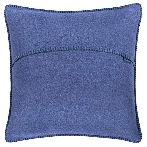 Soft-Fleece-Kissenbezug – Polarfleece mit Häkelstich – weiche, hochwertige Sofa-Kissenhülle –  50x50 cm  – 540 indigo – von 'zoeppritz since 1828'