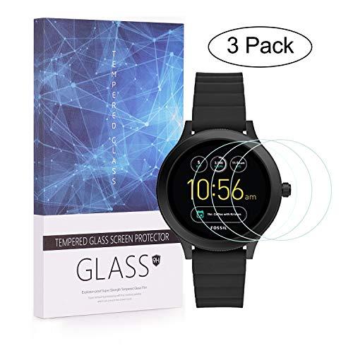 BECEMURU Fossil Q Venture Gen 3 Schutzfolie Bildschirmschutzfolie 9H Härtegrad Berichterstattung Bildschirmschutzfolie Gehärtetes Glas für Fossil Q Venture Gen 3 Smartwatch (3 Stück)