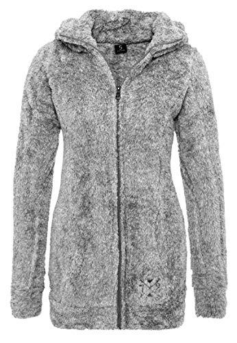 Sublevel Damen Kuschel Fleece-Mantel aus Teddy-Fleece Dark-Grey L
