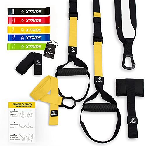 Xtride Kit de Entrenamiento en Suspensión Fitness Profesional, Cintas, Bandas Elásticas, Entrenamiento Muscular con Anclaje para la Puerta