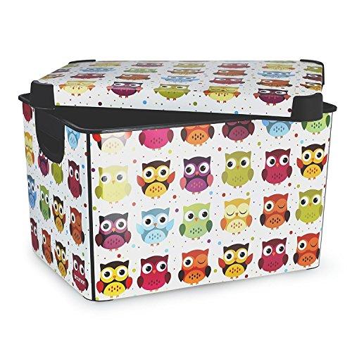 Curver Stockholm Owls Plastic Deco Storage Box Multi Colour, 22 Litre