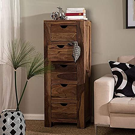 Harish Wood Product Furniture Natural Finish Side Board   Chest of Drawer   Wooden Cabinet   5 Drawers   for Kitchen & Living Room Hall (Sheesham Wood_Brown)