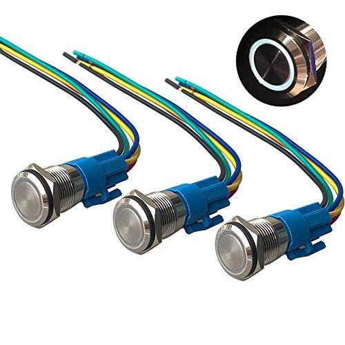 QitinDasen 3Pcs Premium 12V / 24V 5A Interruptor de Botón Momentáneo, 16mm Interruptor de Botón Metálico, LED Blanco Interruptor Pulsador Impermeable IP67 con Enchufe de Cable