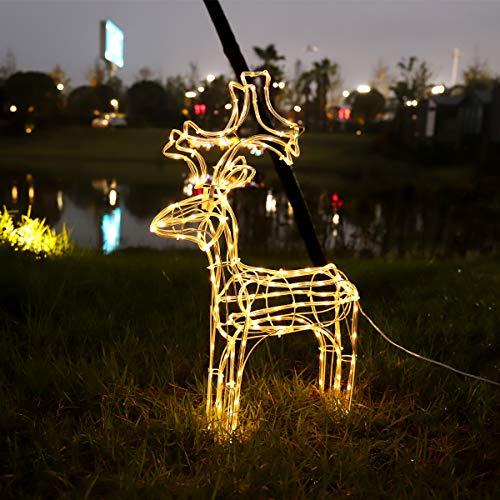 SALCAR Alce/reno de 60cm, Decoración LED para Navidad, 7m Tubo LED de luz + 3m Cable de Alimentación, Reno de...