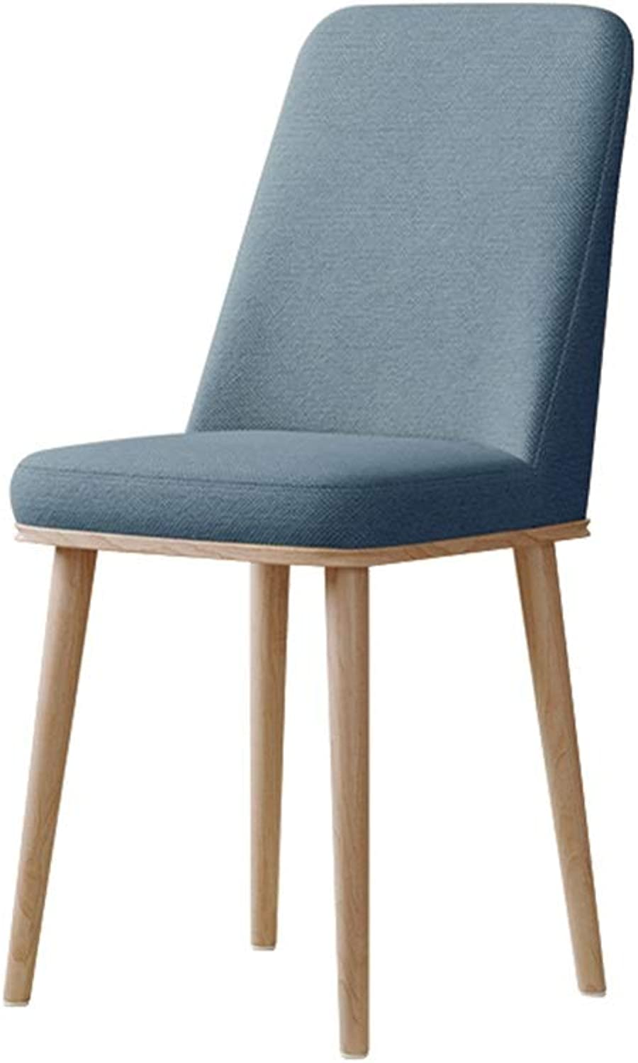 Dining Chair Wooden Living Room Chairs Leather Kitchen Bedroom Waterproof Leisure Chairs Upholstered Elastic Sponge Filling (45×45×93cm) bluee