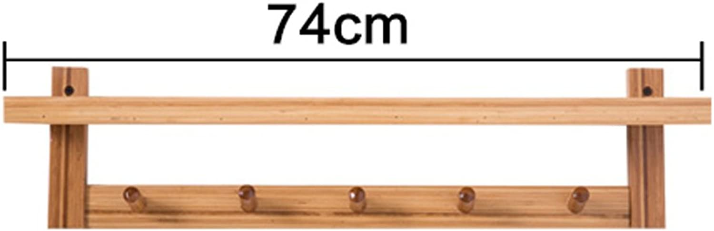 LIAN Rack Shelf Modern Simple 5 Hook Wall Shelf Living Room Shelf Floating Bedroom Storage Unit Shelf Bamboo, Primary color(29.1  4.7  7.1 inch) (color   5 Hooks)