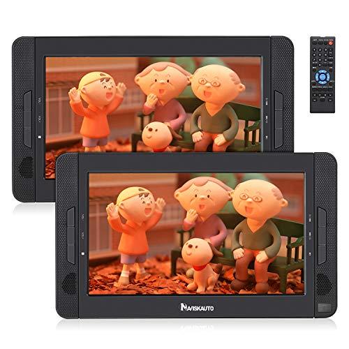 NAVISKAUTO Lettore dvd portatile per auto poggiatesta bambini, due schermi da 10.1 pollici, lunga autonomia di singolo lettore da 5 ore, supporta regione free USB SD MMC, 18 mesi di garanzia