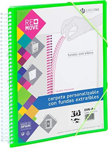 Carchivo 8422951045268 - Carpeta Remove personalizable de 40 fundas extraíbles, color verde