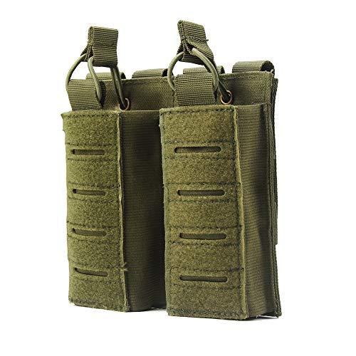 MiOYOOW Tattica Porta Caricatori Pistola, Molle Doppio Custodia Caricatore Mag Pouch con Cinghie Elastiche per Softair