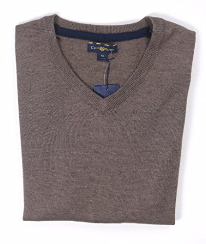Club Room Mens Wool Blend V-Neck Pullover Sweater Taupe L