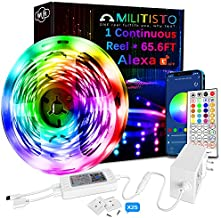 Militisto LED Light Strips 65.6ft (1-Pack) - Alexa Smart LED Strip Lights Compatible with Echo,Google Home - Music LED Lights for Bedroom,Aesthetic Room Decor,Smart Home, Home Decorations, Dorm Decor