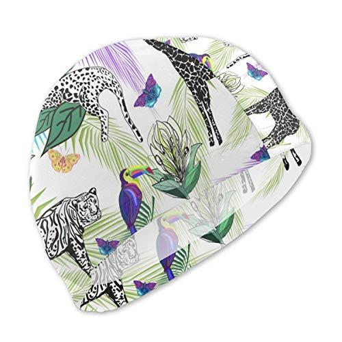 HFHY Animaux africains, Toucans Papillons Feuilles de Palmier Bonnet de Bain pour Enfants, Bonnet de Bain personnalisé en Polyester