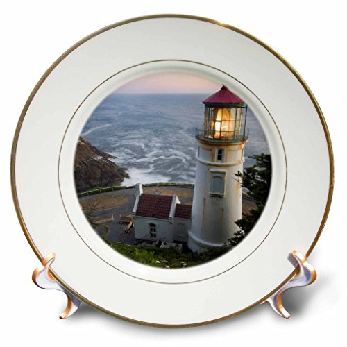 3dRose CP 94104 _ 1 haceta Head Lighthouse, Oregon, usa-us38 rkl0018-raymond klass-Porcelain Teller, 20,3 cm
