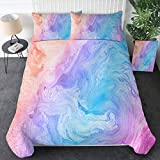 Sleepwish Modern Pastel Tie Dye Bedding Colorful Marble Duvet Cover Full Blue Purple Modern Bedspreads Kids Teens Girls 3 Piece Trendy Bed Set