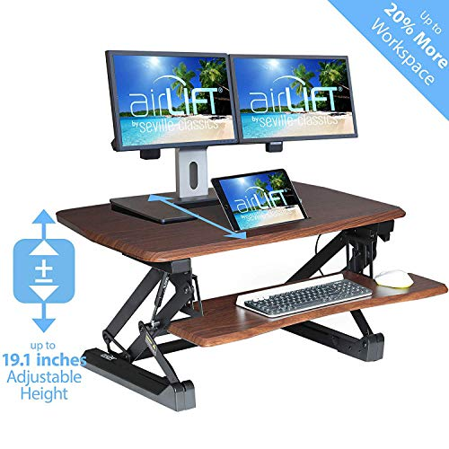 "Seville Classics airLIFT Height Adjustable Stand Up Desk Converter/Riser - Keyboard Tray, Dual Monitors, Quick Lift Levers Ergonomic Table, Full (36""), Walnut"