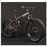 Erwachsene Mountain Bikes, faltbarer Rahmen Fat Tire Doppel-Suspension-Gebirgsfahrrad, High-carbon Stahlrahmen, All Terrain Mountainbike, 26' Red, 30 Drehzahl lalay ( Color : 26\ , Size : 30 Speed )