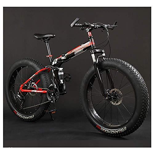 YZ-YUAN Vélos de Montagne pour Adultes, Cadre Pliable, Gros Pneu, vélo de Montagne à Double Suspension, Cadre en Acier à Haute teneur en Carbone, vélo de Montagne Tout Terrain, 26\