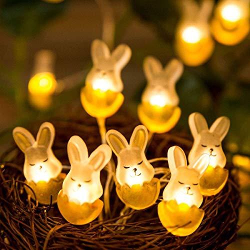 Ostern Nachtlicht Dekorative Lichter,KINGCOO 10ft 30 LED Kaninchen Hase Kupferdraht Lichterkette Batteriebetrieben für Ostern Show Schlafzimmer Wand Balkon Garten DIY Pary Home Decor(Warmweiß)