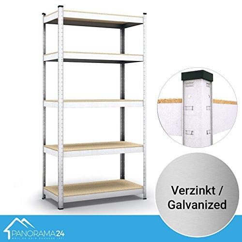 Panorama24 Lagerregal verzinkt belastbar bis 350kg - Maße: 180 x 75 x 30 cm, Regal Kellerregal Steckregal Werkstattregal Schwerlastregal