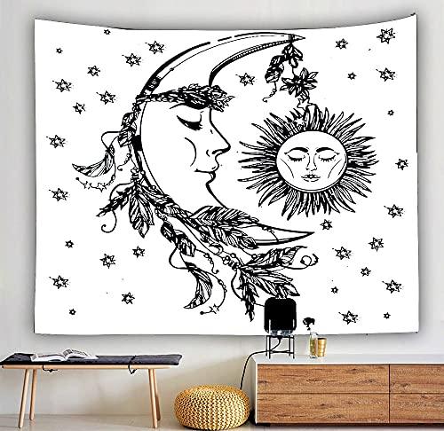 Tarot Card Astrología Brujería Paño colgante Hippie Mandala Blanco Negro Sol Luna Tapiz Colgante de pared Decoración del hogar A13 180x230cm