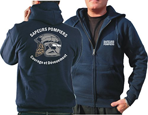 Survêtement à capuche (Bleu marine/bleu marine) Sapeurs Pompiers Casque – Courage et dévouement – Marque Blanc S bleu marine