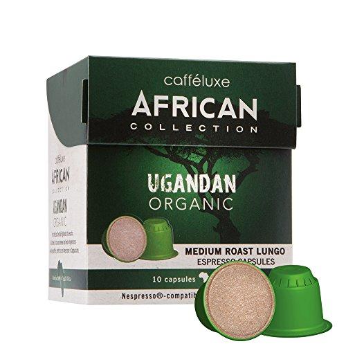 Caffeluxe African Collection Bio kompostierbare Nespresso kompatible Kaffee Kapseln Lungo mittlere Röstung Uganda 10 oder 60 Stück (60)