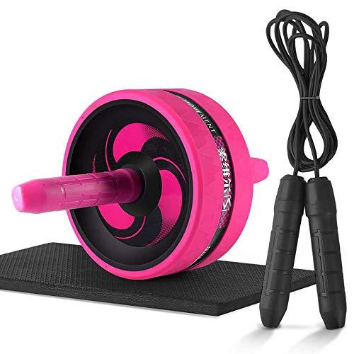 Zhebei 2 en 1 Ab rodillo y saltar cuerda ruidosa rueda abdominal Ab rodillo PinkwithRope