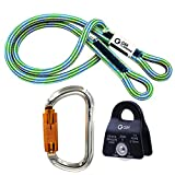 GM CLIMBING Hitch Slack Tending Pulley Kit for Double Rope Climbing System Basic Unit of General Hauling - 20kN Black Micro Prusik Minding Pulley & Oval Locking Carainber & 30in 8mm VT Prusik