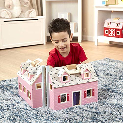 Melissa & Doug Fold & Go Mini Dollhouse (Portable Wooden Dollhouse, Working Doors, Sturdy Carrying Handles, Great Gift for Girls and Boys - Best for 3, 4, 5, and 6 Year Olds)