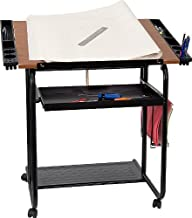 Flash Furniture Adjustable Drawing and Drafting Table with Black Frame and Dual Wheel Casters