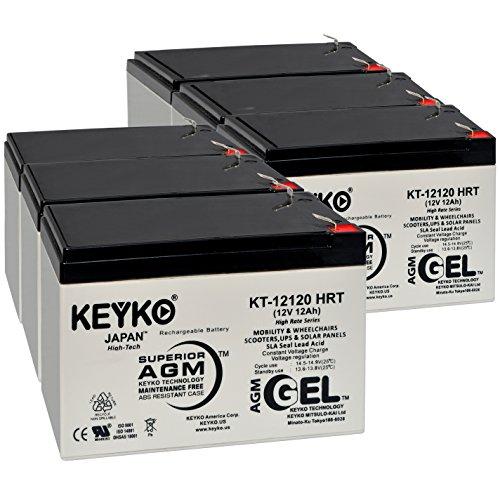 Battery 12V 12Ah - Fresh & Real 14.0 Amp - Gel Deep Cycle AGM/SLA Designed for Generic Use - Genuine KEYKO KT-12120 HRT - F2 Terminal - 6 Pack