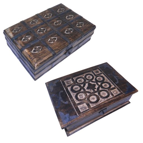 indischerbasar.de Set dos joyeros caja madera y cofre del tesoro cofre pirata madera tallas aspecto antiguo