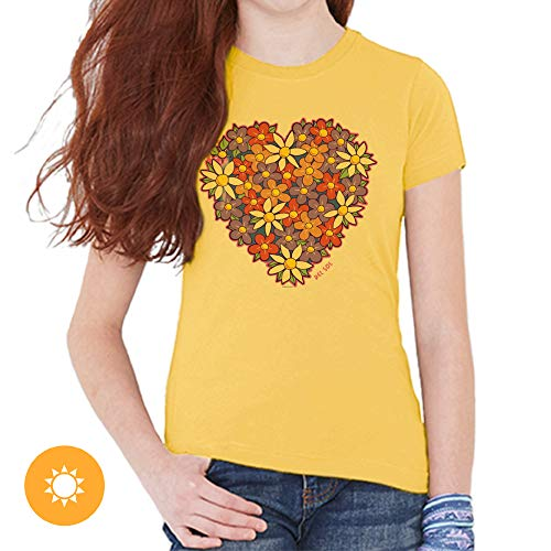 Del Sol Youth Girls Crew Tee - I Heart Flowers, Butter T-Shirt - Changes from Purple to Vibrant Colors in The Sun - 100% Combed, Ring-Spun Cotton, Short Sleeve - Size YXS