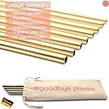 GERNEO - Labor geprüft - Strohhalm wiederverwendbar 304er Edelstahl - 8er Set + Reinigungsbürste + ToGo Bag - Rückgaberecht, kindergeeignet, rostfrei, umweltfreundlich & plastikfrei (Gold-Gerade-8mm)