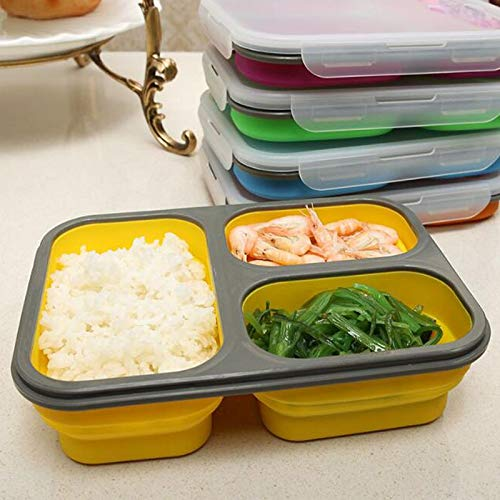 WPC Brands bento box for kids 1100ml Silicone Collapsible Portable Lunch Box Large Capacity Bowl Lunch Bento Box Folding Lunchbox Eco-Friendly cute bento box (Color : Yellow)